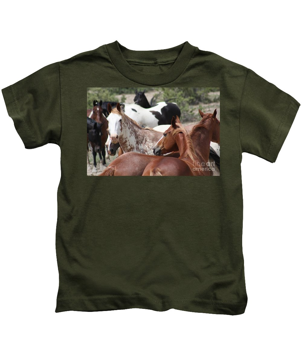 Horses Kids T-Shirt featuring the photograph The Gang by Brandi Maher