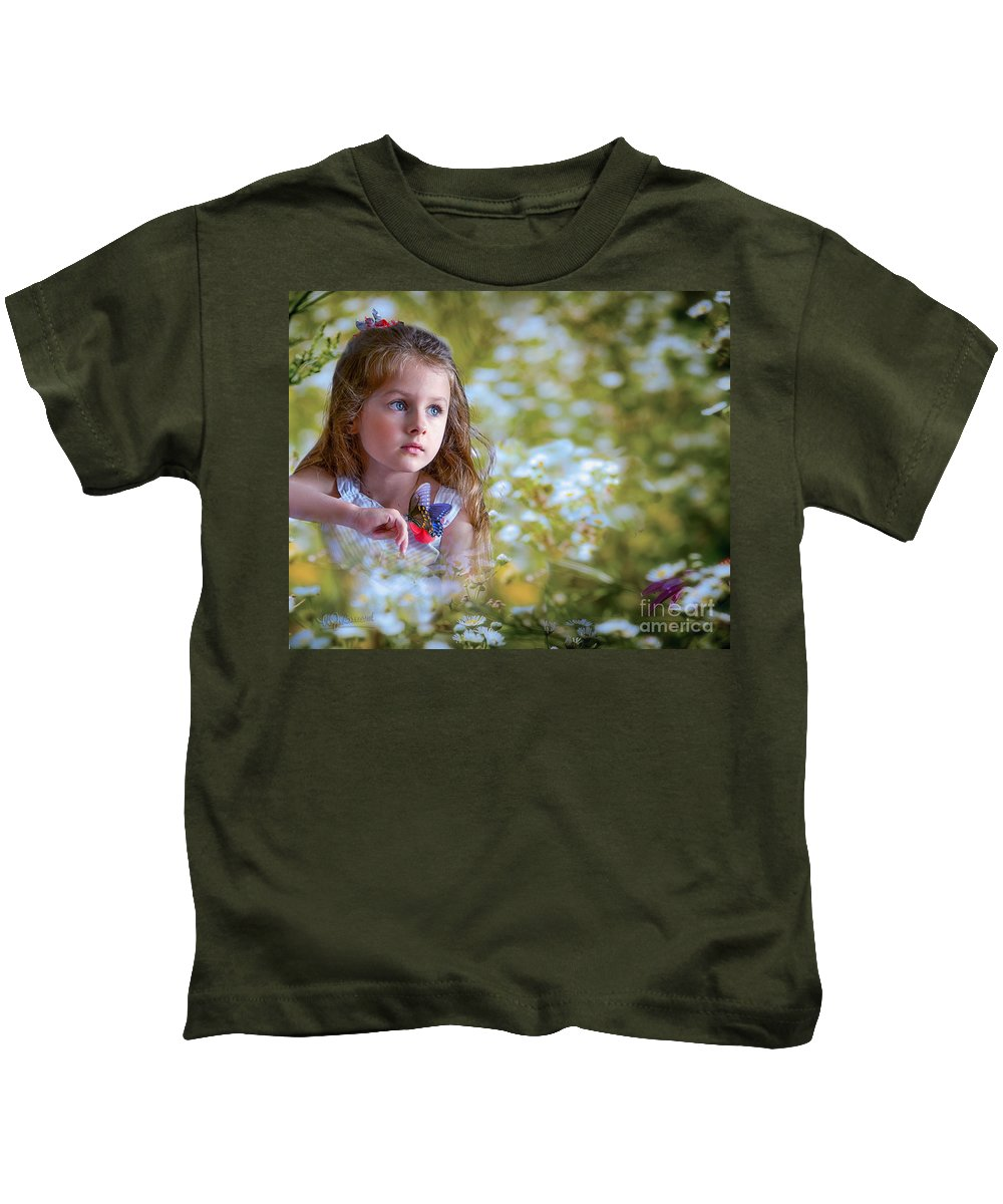 Girl Kids T-Shirt featuring the photograph The Girl And The Butterfly by Warrena J Barnerd