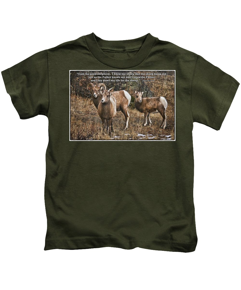 Rocky Mountain Bighorn Sheep Kids T-Shirt featuring the photograph The Good Shepherd's Sheep by Priscilla Burgers
