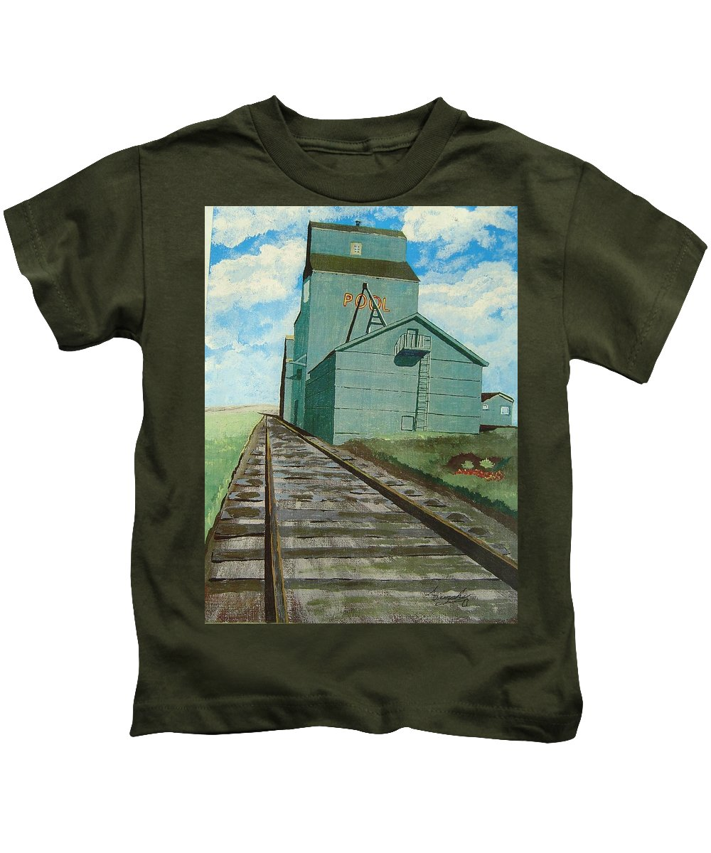 Elevator Kids T-Shirt featuring the painting The Grain Elevator by Anthony Dunphy
