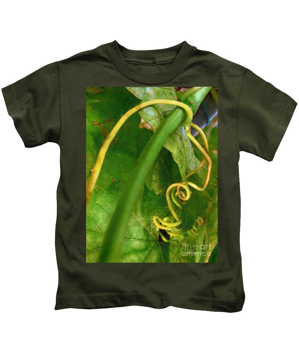 Green Kids T-Shirt featuring the photograph The Grape Vine by Jennie Breeze
