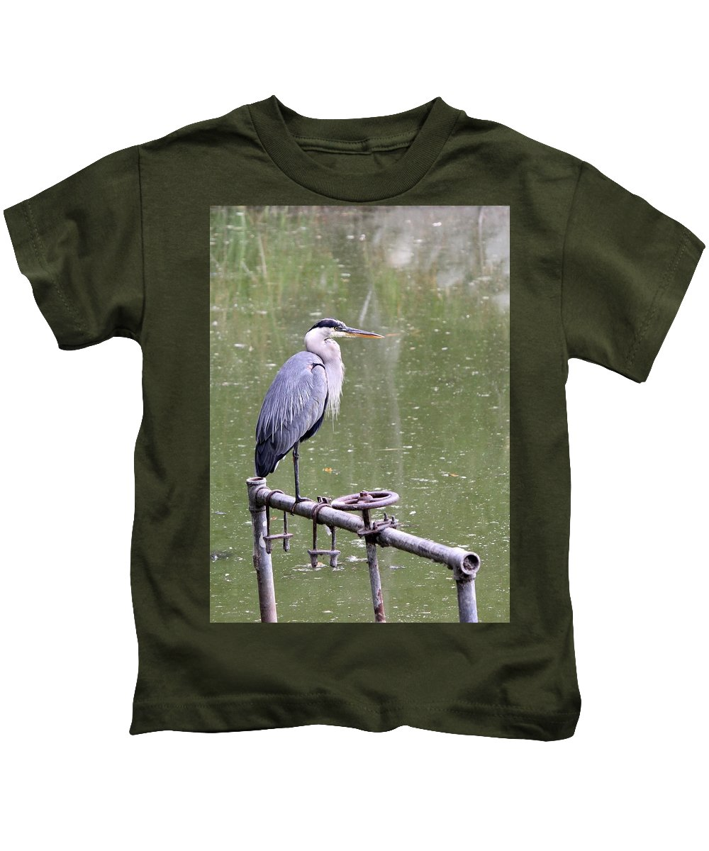 Great Blue Heron Kids T-Shirt featuring the photograph The Great Blue by Lilly Green