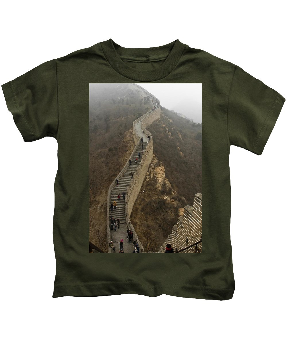 Great Wall Of China Kids T-Shirt featuring the photograph The Great Wall Of China At Badaling - 8 by Hany J