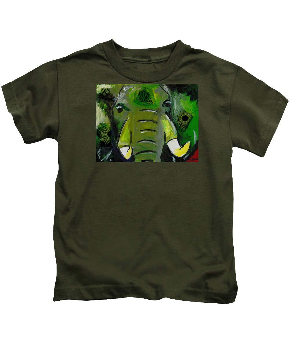 Elephant Kids T-Shirt featuring the painting The Green Elephant In The Room by Katie Sasser