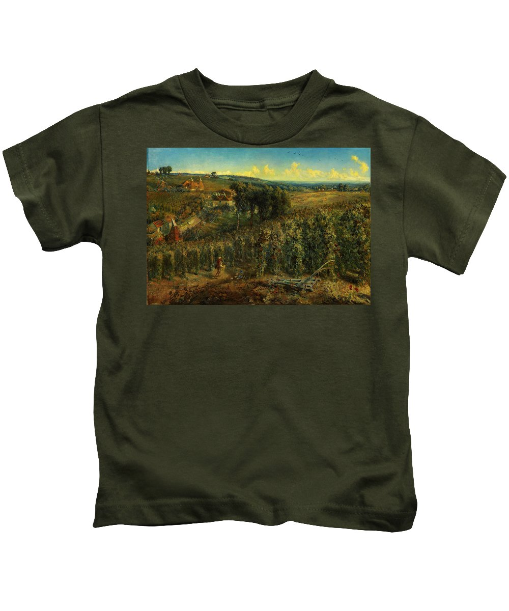 Cecil Gordon Lawsonthe Hop-gardens Of England Kids T-Shirt featuring the painting The Hop-gardens Of England by Celestial Images