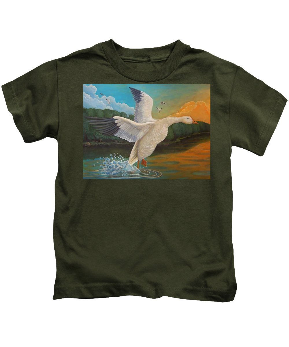 Rick Huotari Kids T-Shirt featuring the painting The Landing by Rick Huotari