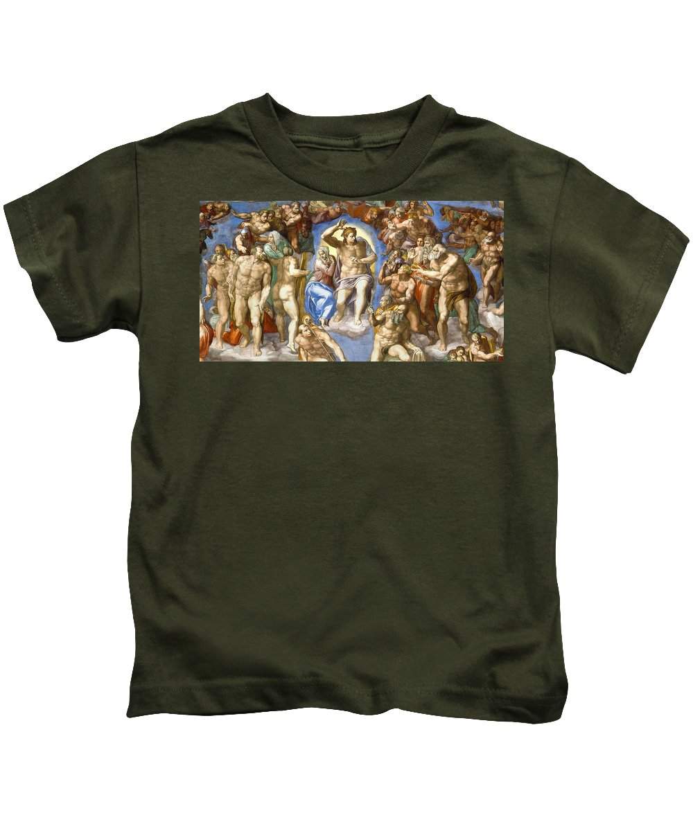 1541 Kids T-Shirt featuring the painting The Last Judgment - Detail by Michelangelo Buonarroti