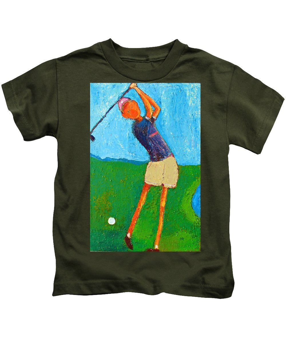 Abstract Kids T-Shirt featuring the painting The Little Golfer by Habib Ayat