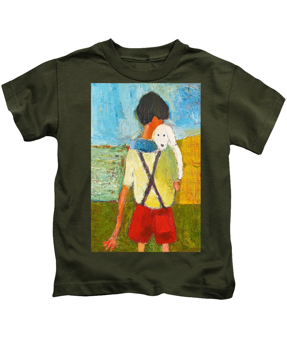 Abstract Kids T-Shirt featuring the painting The Little Puppy by Habib Ayat