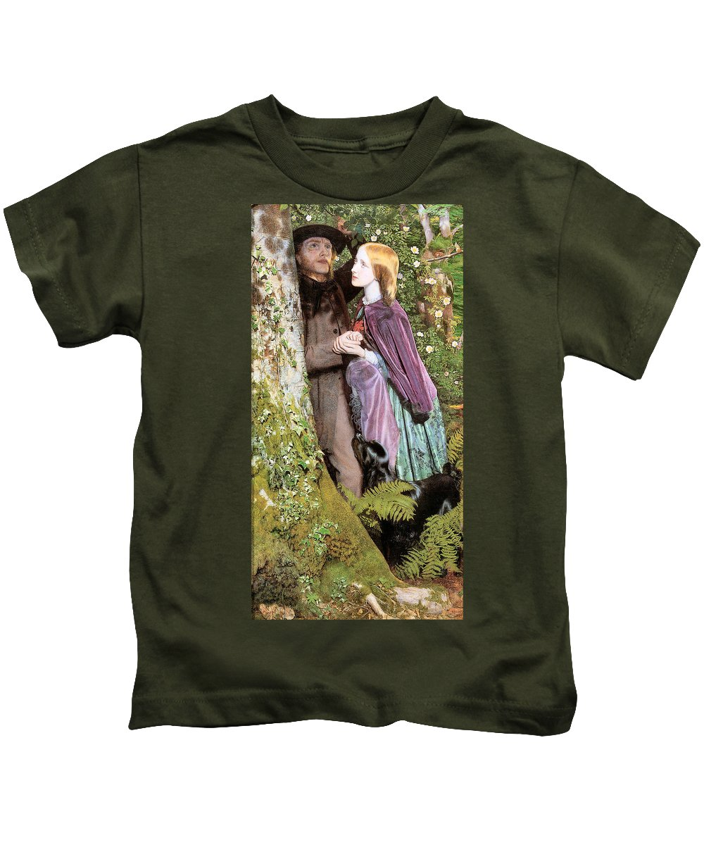 Arthur Hughes Kids T-Shirt featuring the digital art The Long Engagement by Arthur Hughes