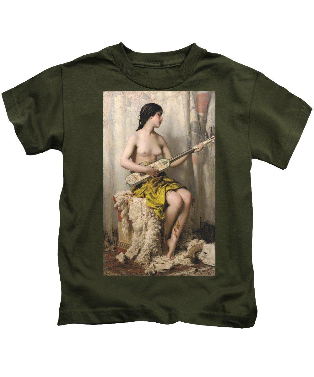 Theobald Chartran Kids T-Shirt featuring the painting The Mandolin Player by Theobald Chartran
