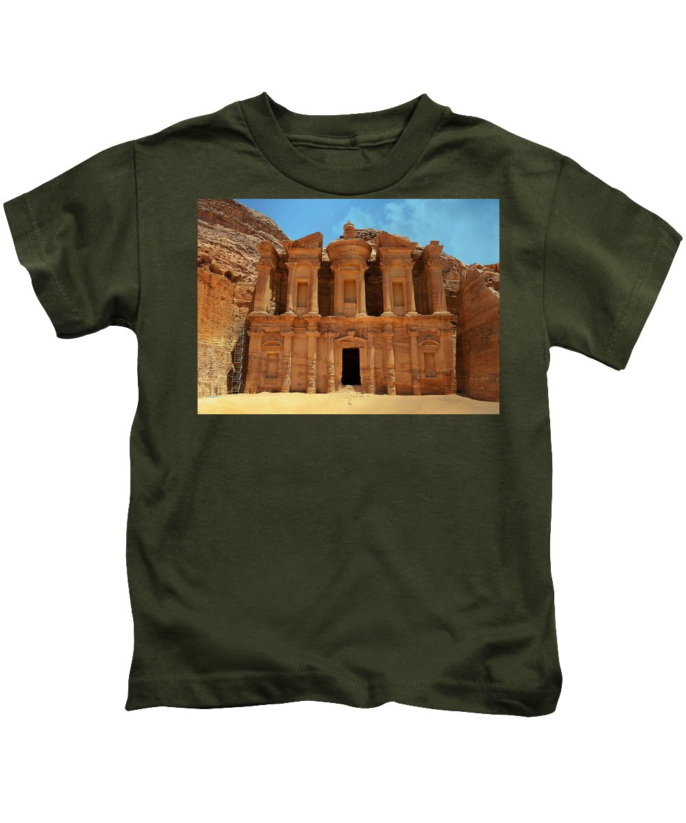 Ad-dayr Kids T-Shirt featuring the photograph The Monastery At Petra by Stephen Stookey