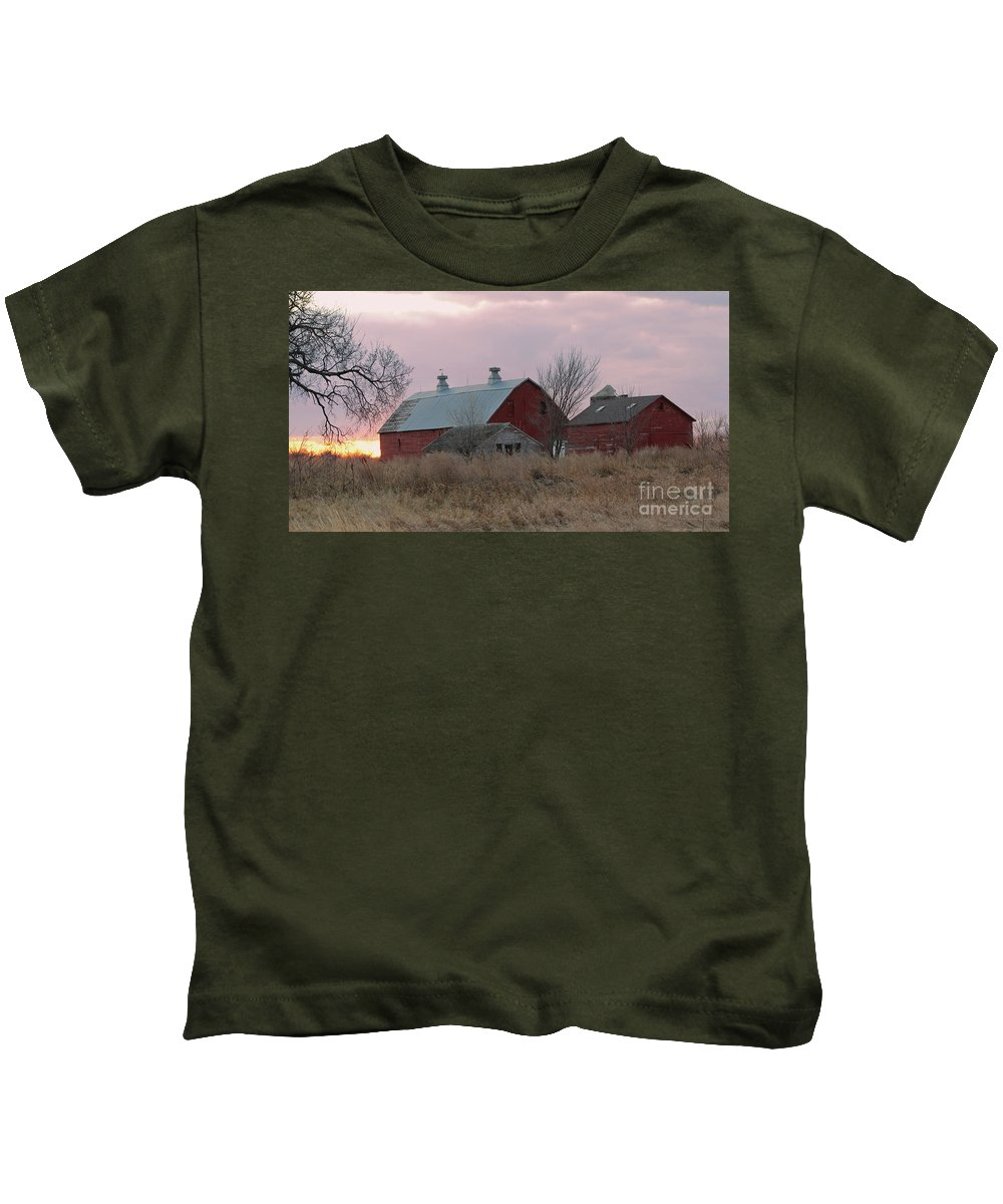 Barns Kids T-Shirt featuring the photograph The Old Barns by Lori Tordsen