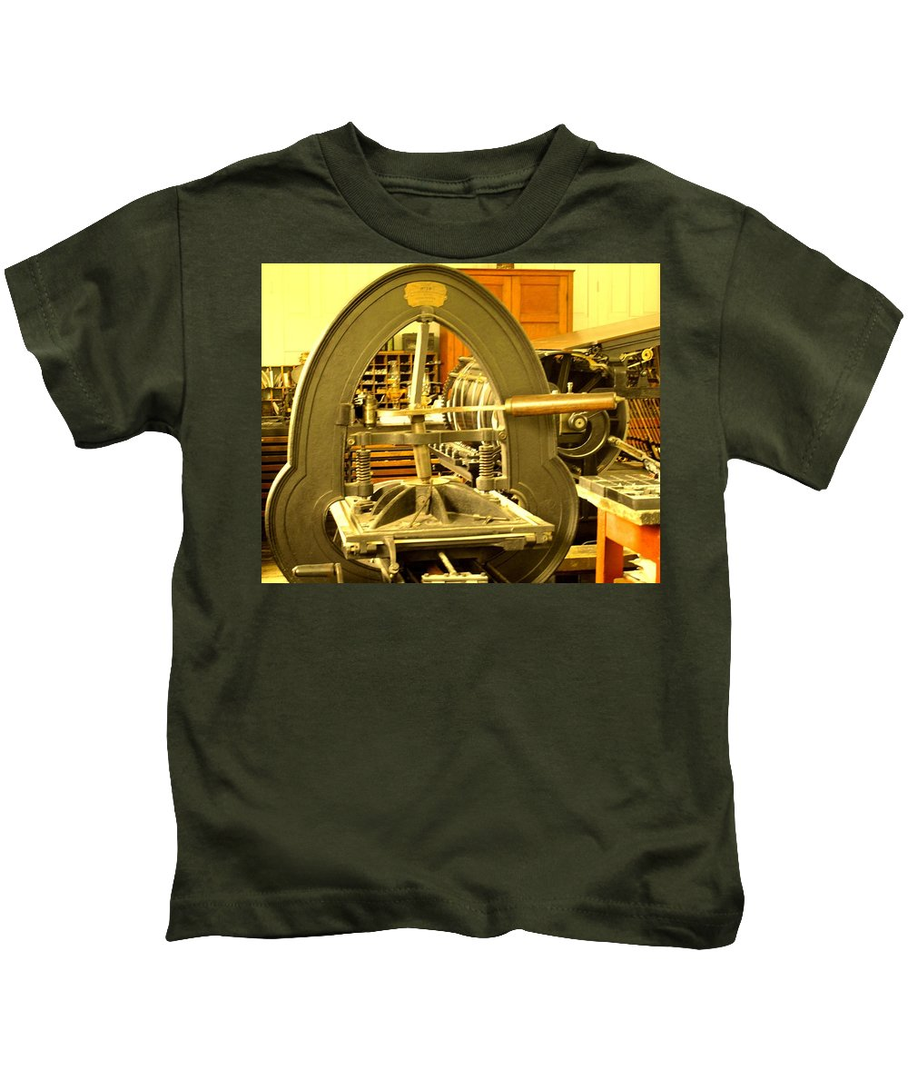Pioneer Kids T-Shirt featuring the photograph The Old Printing Press by Ian MacDonald