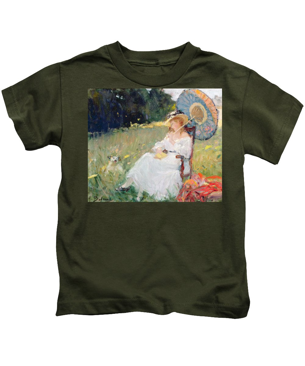 Dog Kids T-Shirt featuring the painting The Parasol by Gennaro Befanio