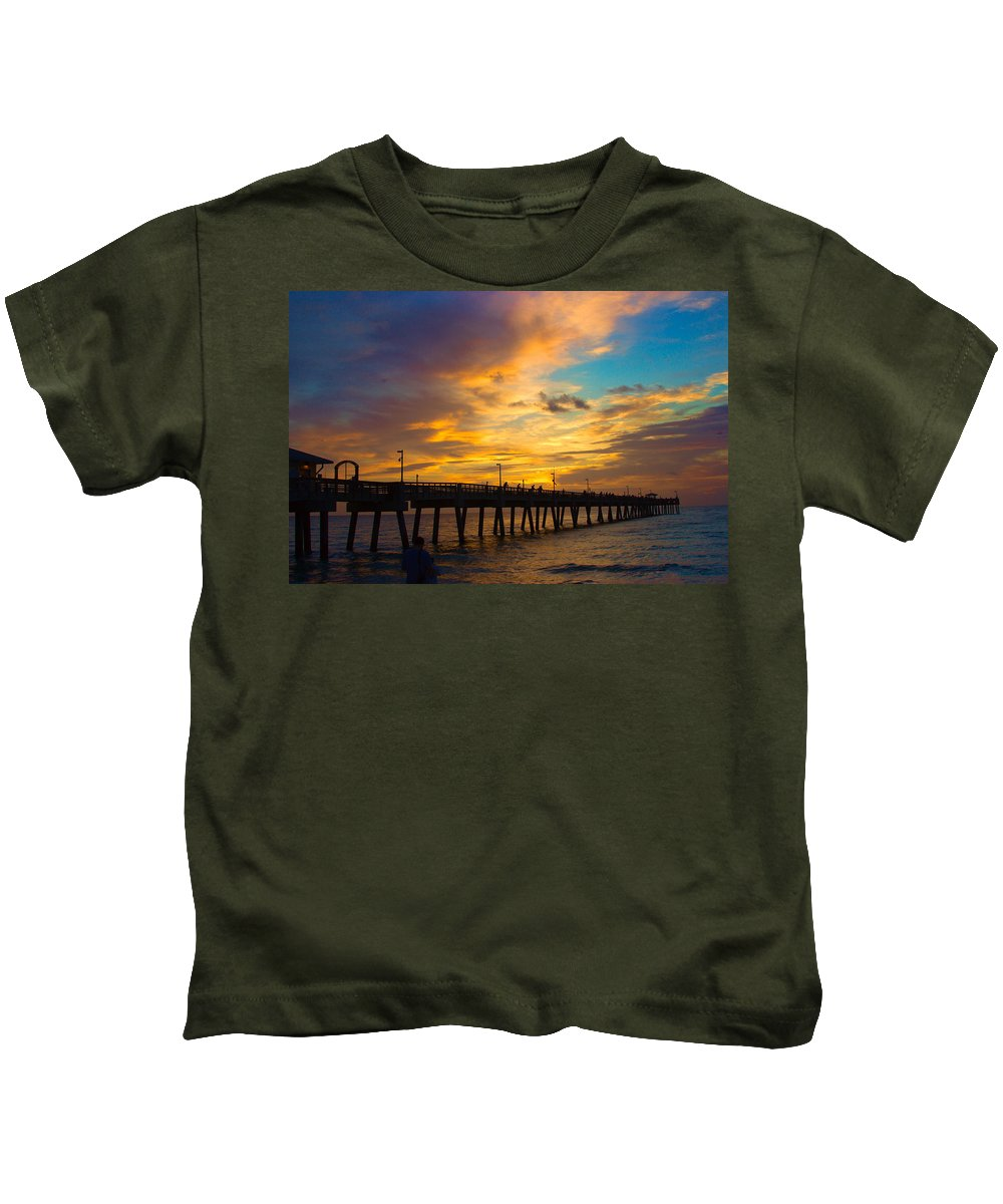 Sunrise Kids T-Shirt featuring the photograph The Pier by Mayra Pau