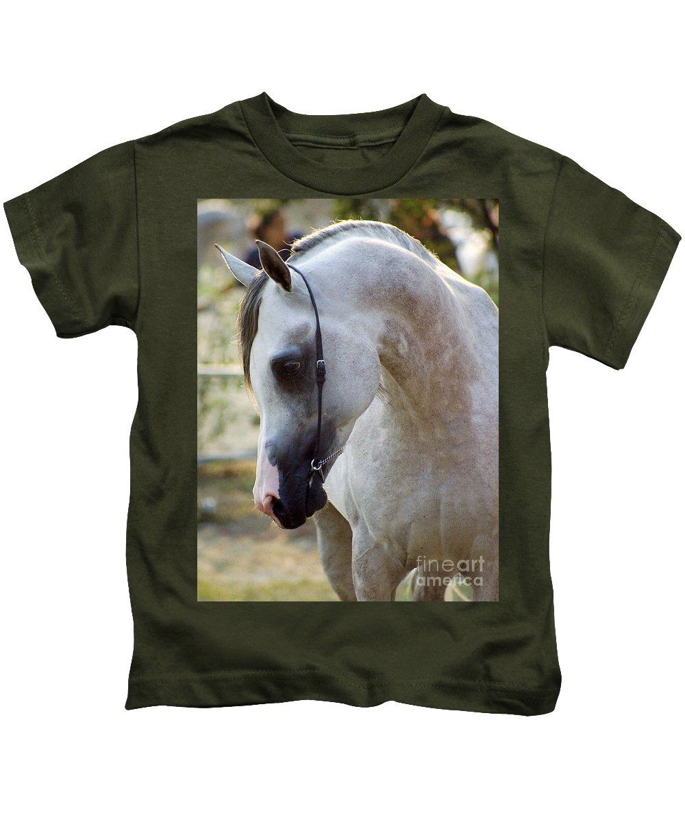 Horse Kids T-Shirt featuring the photograph The Polish Arabian Horse by Angel Ciesniarska