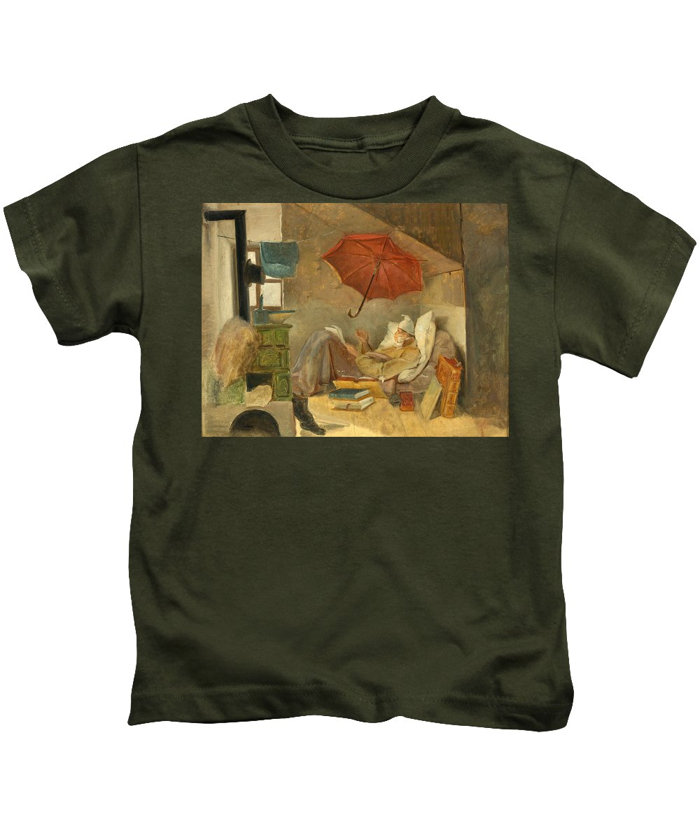Carl Spitzweg Kids T-Shirt featuring the painting The Poor Poet II by Carl Spitzweg