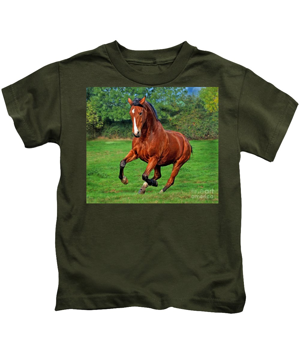 Horse Kids T-Shirt featuring the photograph The Pure Power by Angel Ciesniarska