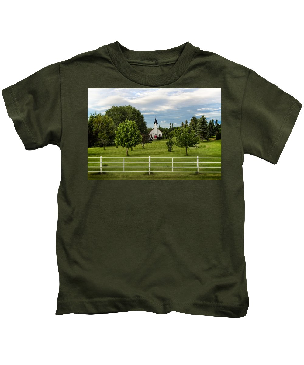 Church Kids T-Shirt featuring the photograph The Red Door by Sandra Parlow