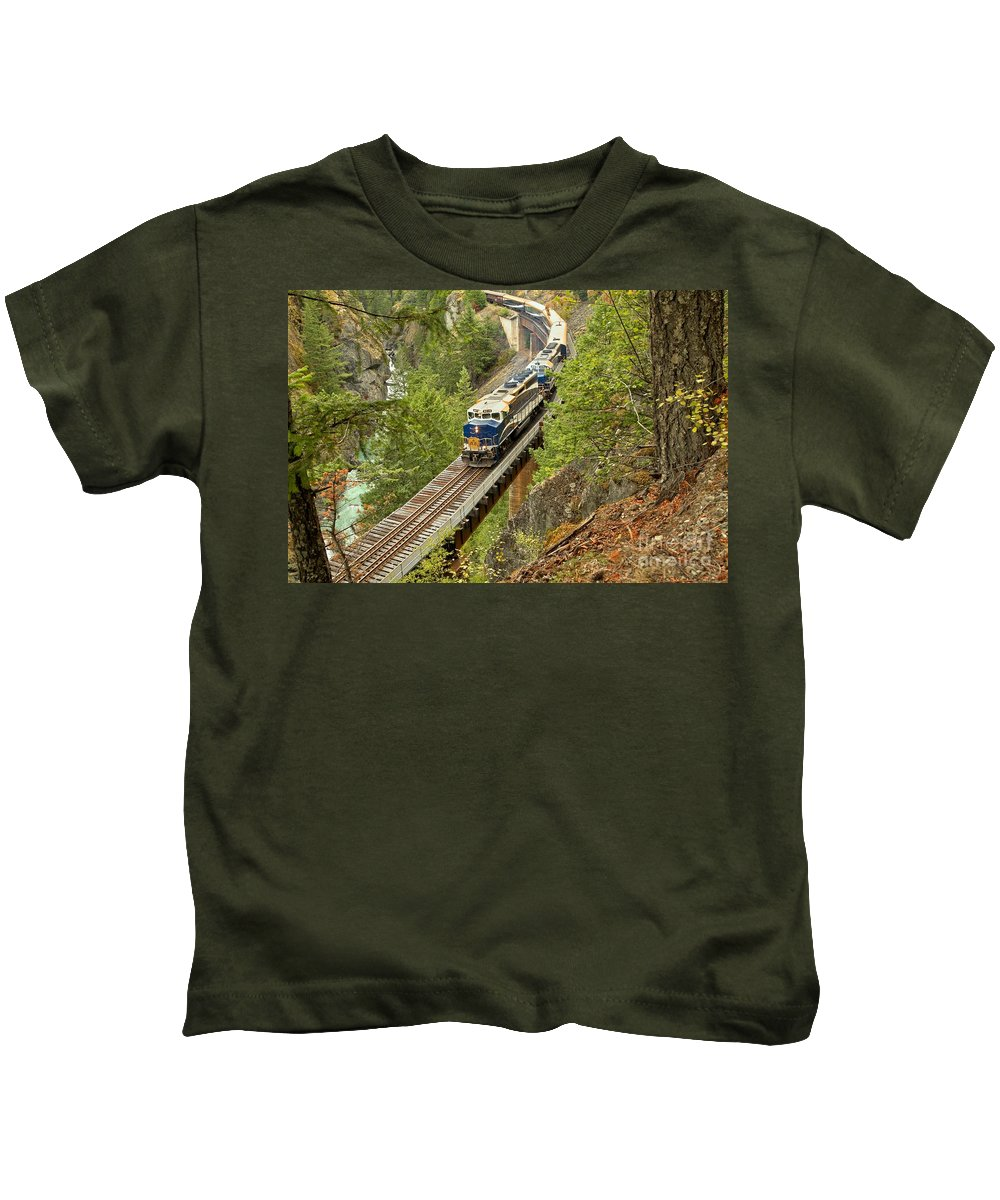 Rocky Mountaineer Kids T-Shirt featuring the photograph The Rocky Mountaineer Above The Cheakamus River by Adam Jewell