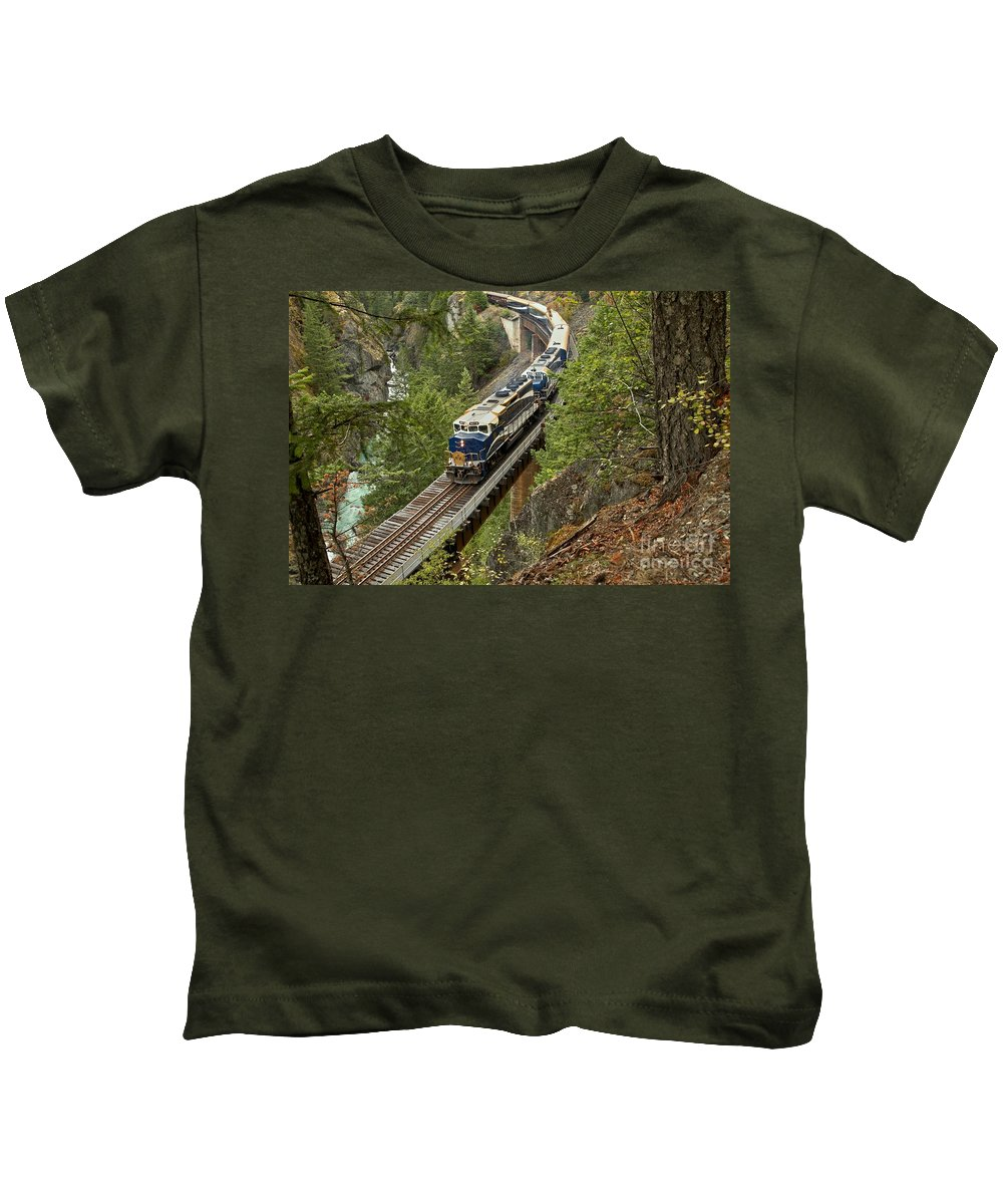 Rocky Mountaineer Kids T-Shirt featuring the photograph The Rocky Mountaineer by Adam Jewell