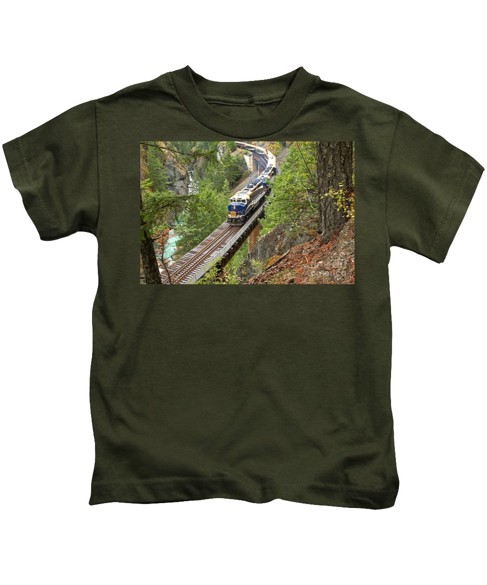 Rocky Mountaineer Kids T-Shirt featuring the photograph The Rocky Mountaineer Railroad by Adam Jewell