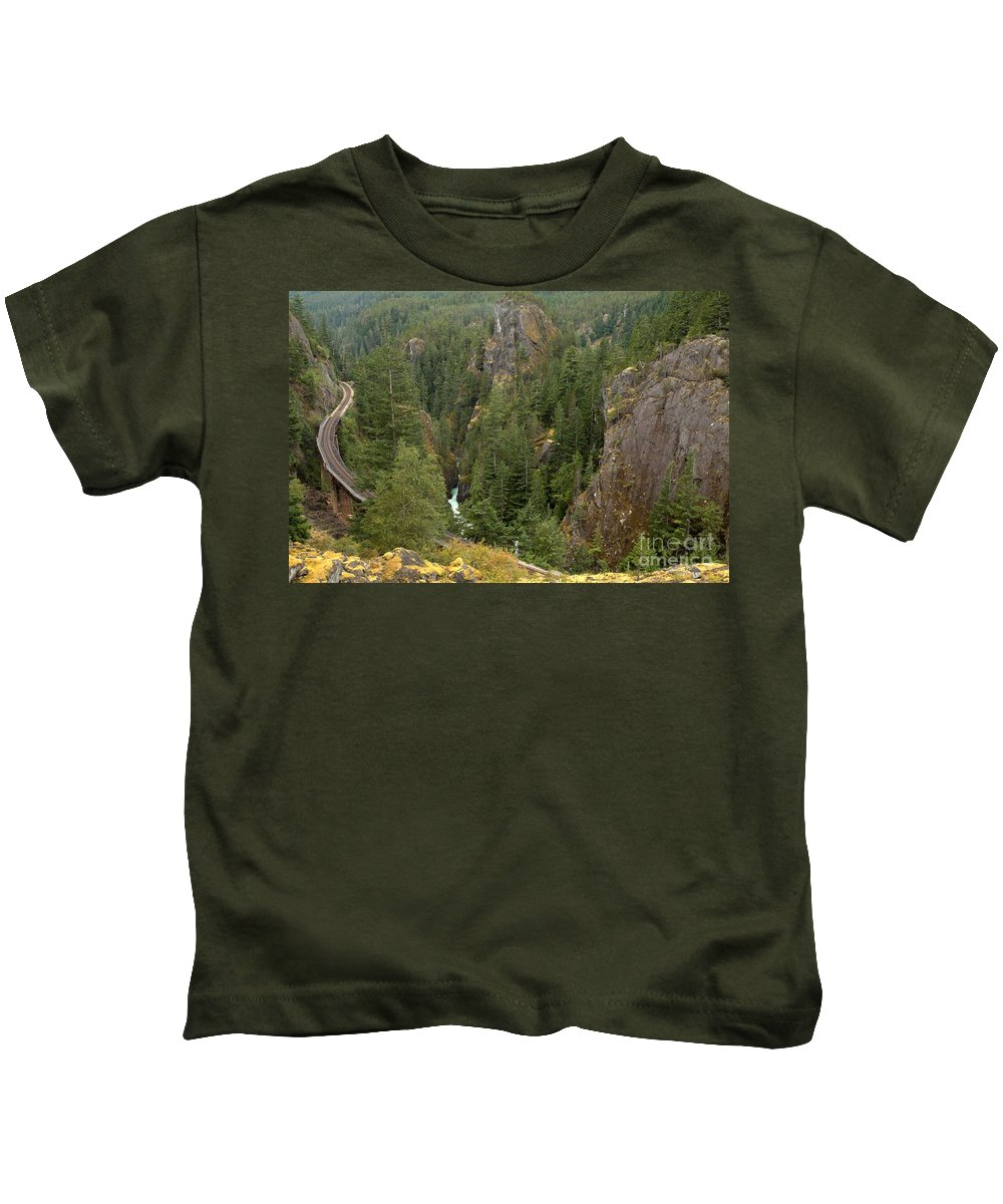 Railroad Gorge Kids T-Shirt featuring the photograph The Scenic Cheakamus River Gorge by Adam Jewell