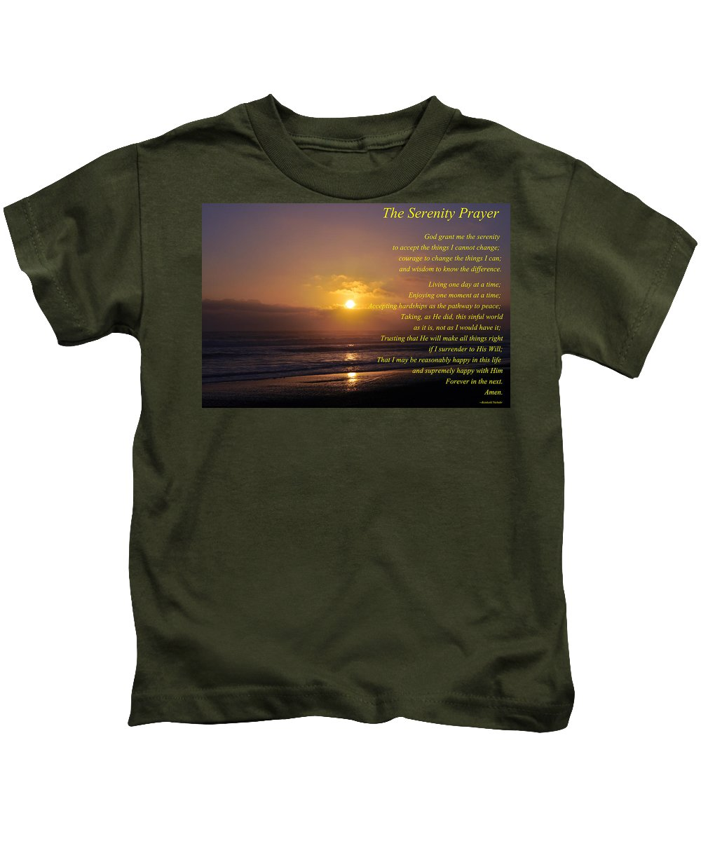 The Serenity Prayer Kids T-Shirt featuring the photograph The Serenity Prayer by Tikvah's Hope