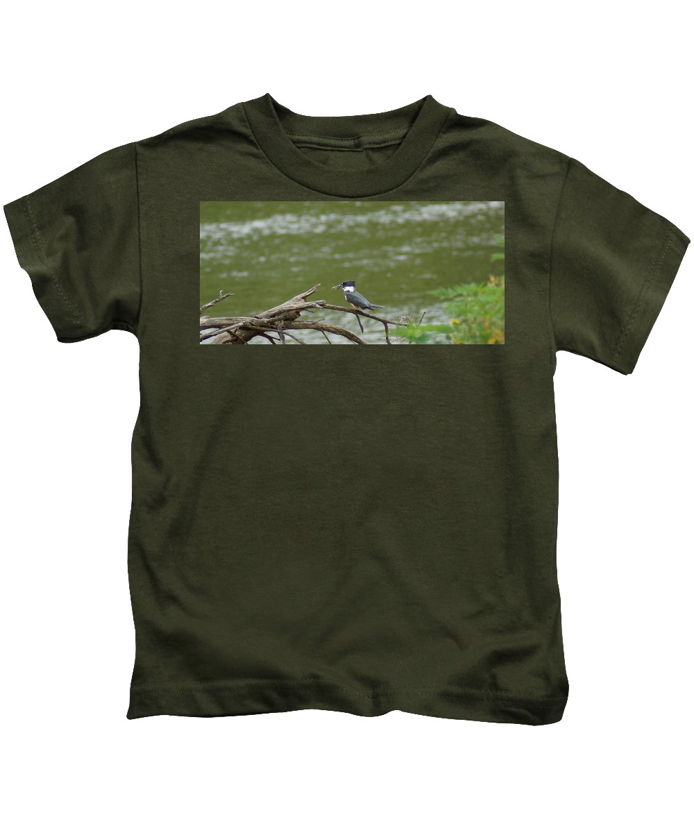 Digital Photography Kids T-Shirt featuring the photograph The Southern Kingfisher Side View by Kim Pate