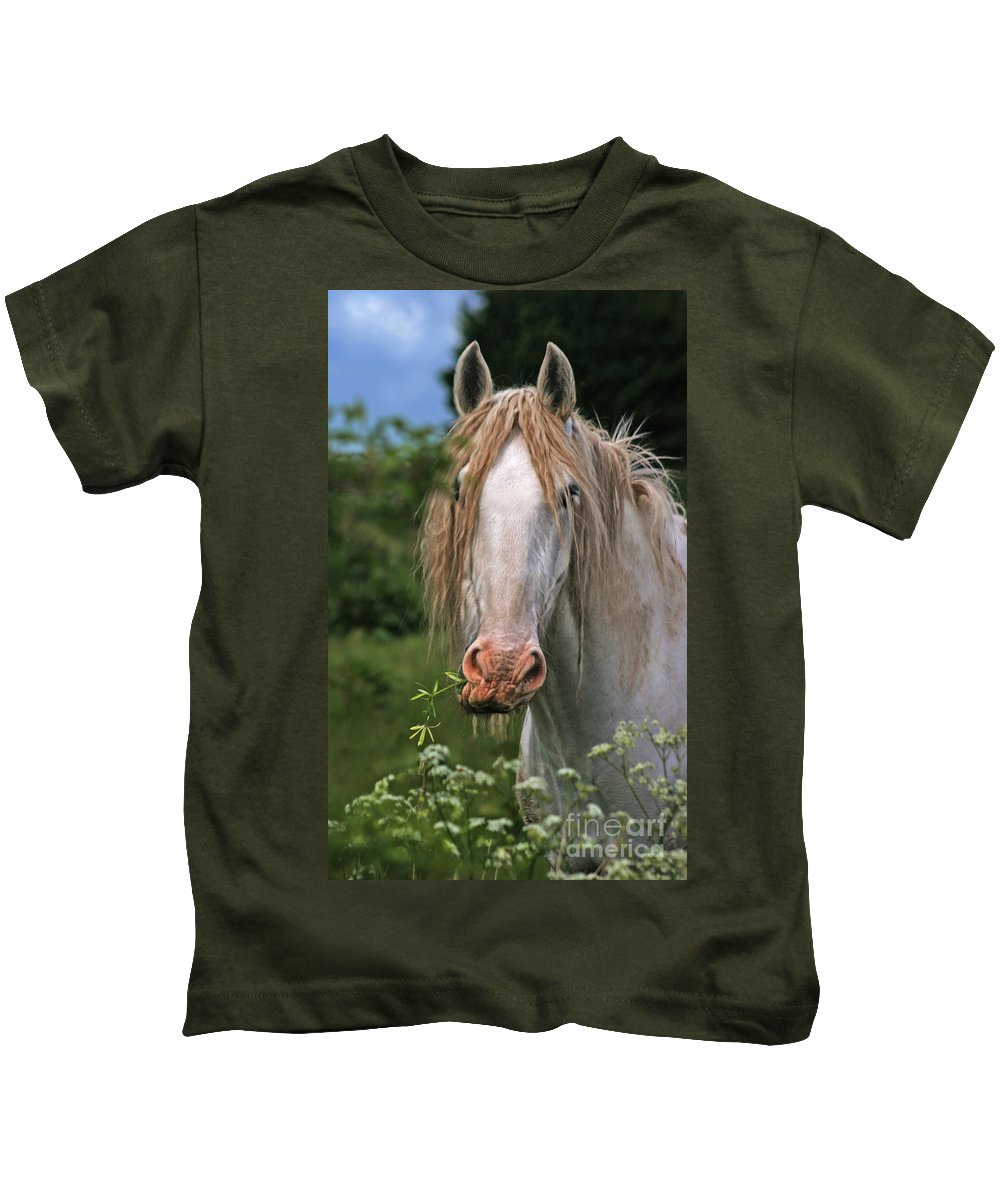 Horse Kids T-Shirt featuring the photograph The Taste Of The Spring by Angel Ciesniarska
