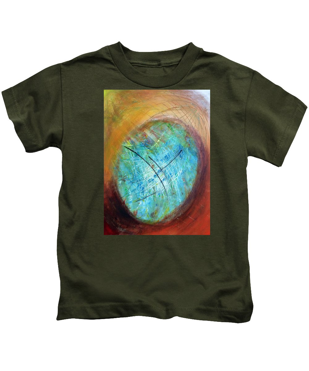 Abstract Art Kids T-Shirt featuring the painting The Web Of Life by Aarti Bartake