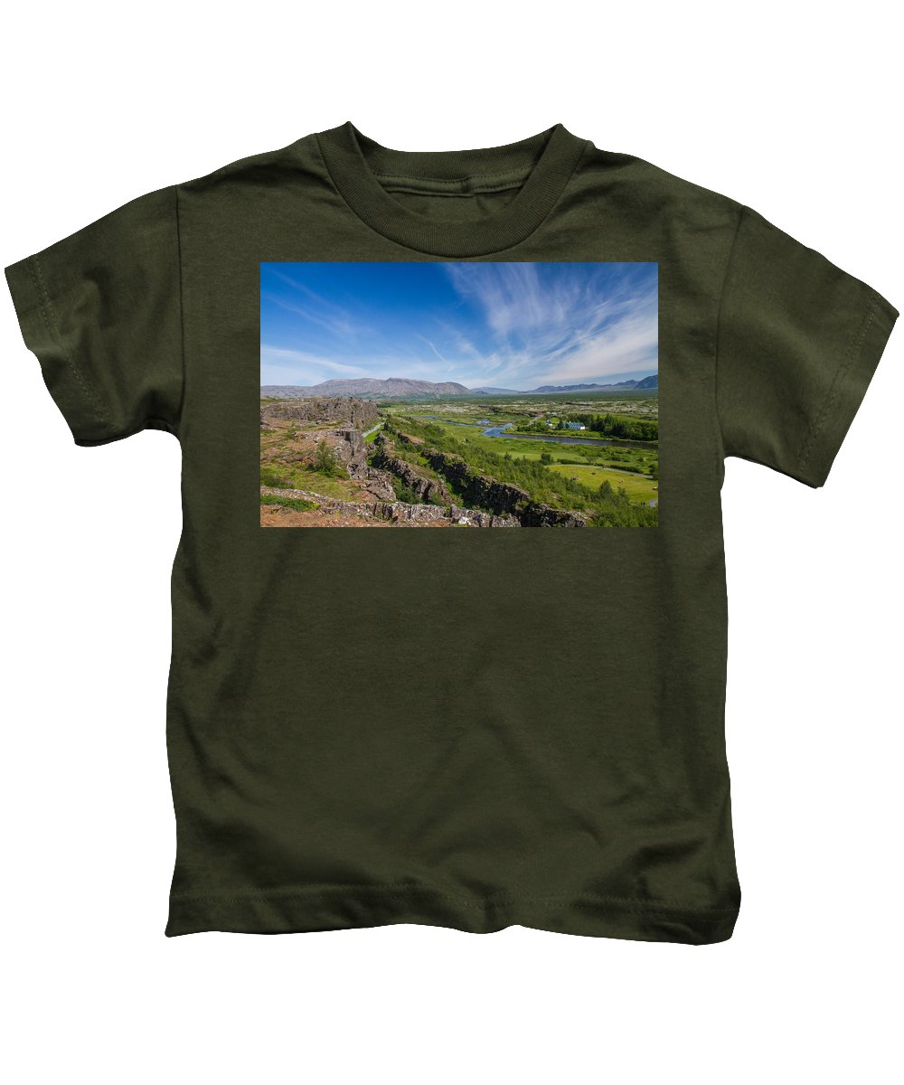 First Golden Circle Kids T-Shirt featuring the photograph Thingvellir Iceland by For Ninety One Days