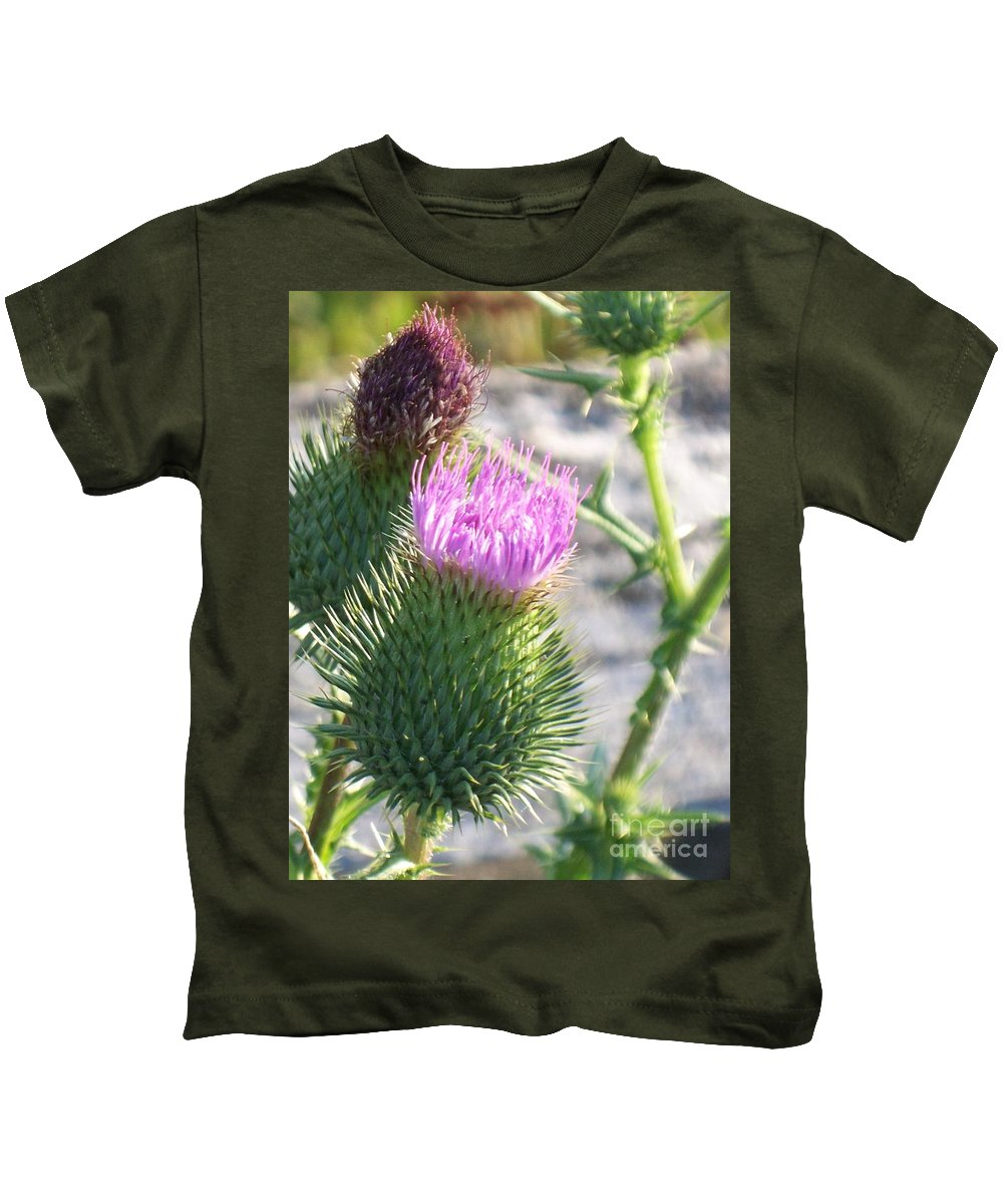 Thistle Kids T-Shirt featuring the painting Thistle Flower by Eric Schiabor