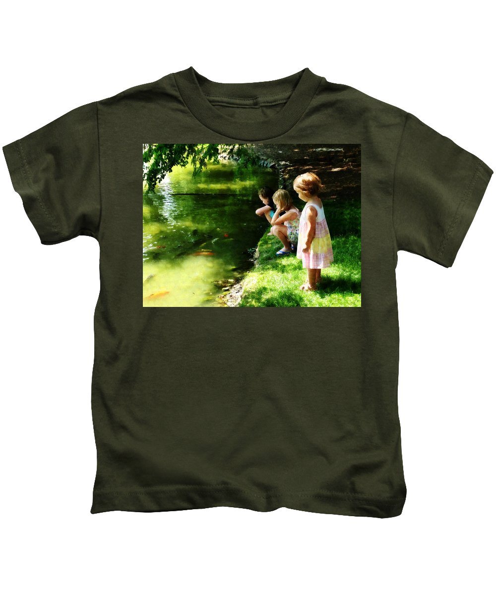 Park Kids T-Shirt featuring the photograph Three Sisters Watching Koi by Susan Savad