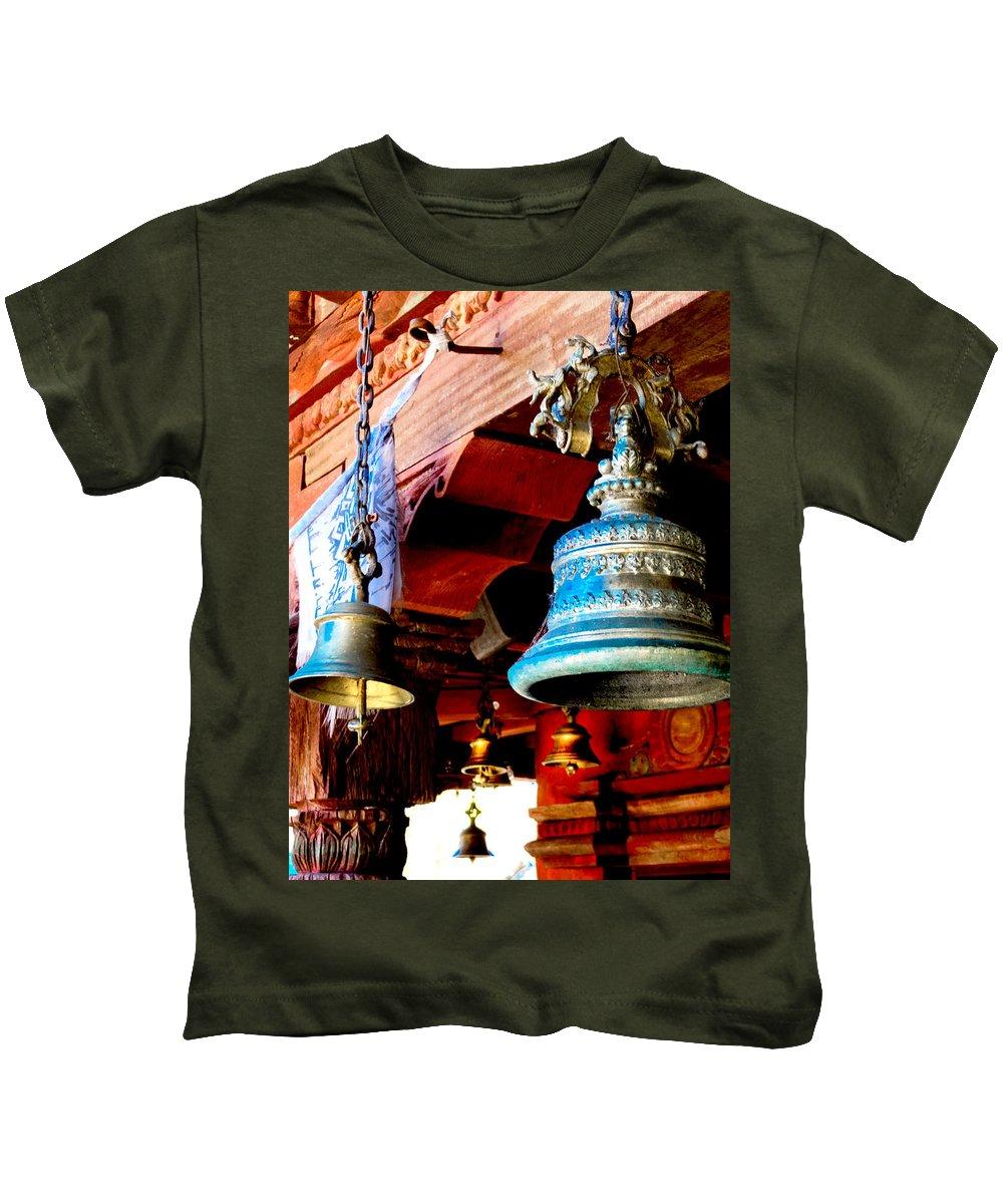 Bells Kids T-Shirt featuring the photograph Tibetan Bells by Greg Fortier