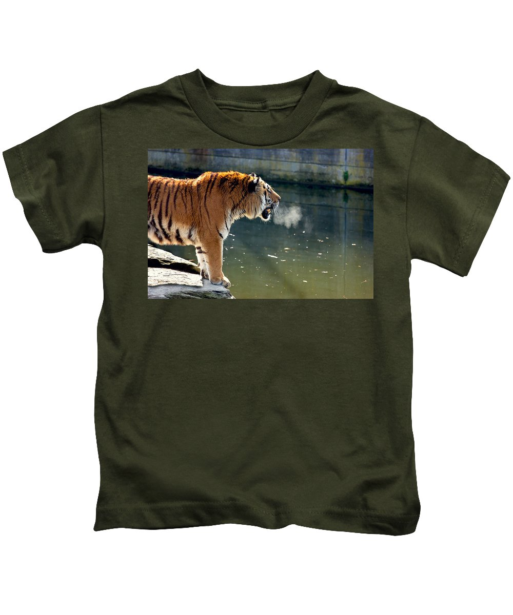 Tiger Kids T-Shirt featuring the photograph Tiger Breathing Into Cold Air By The Water by Pati Photography