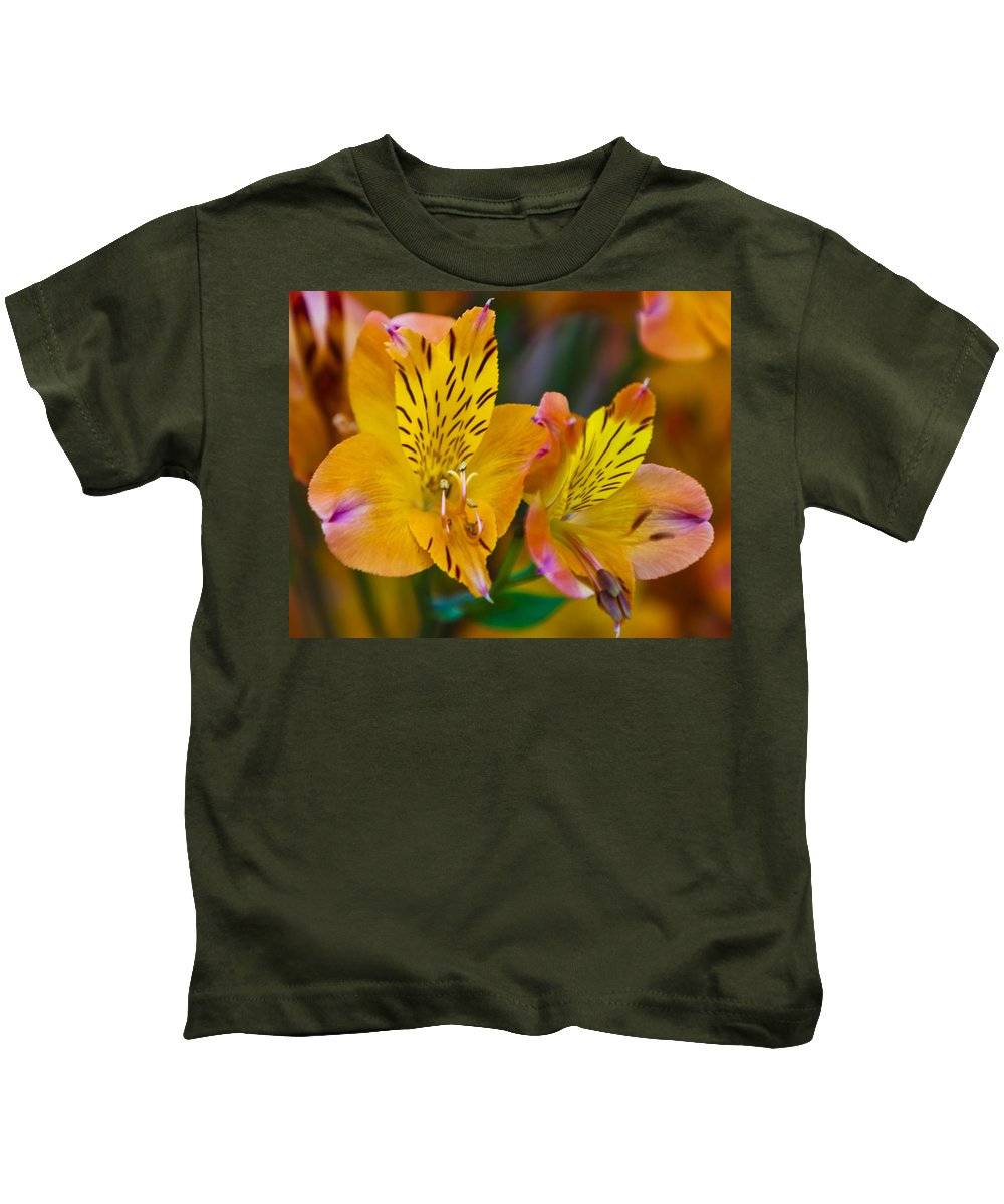 Plant Kids T-Shirt featuring the photograph Tiger Lily by Maj Seda