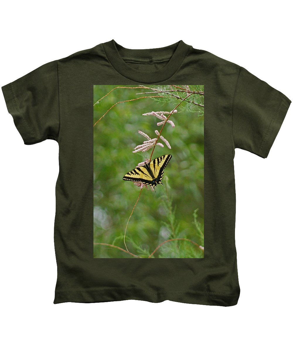 Bugs Kids T-Shirt featuring the digital art Tiger Swallowtail by Ernie Echols