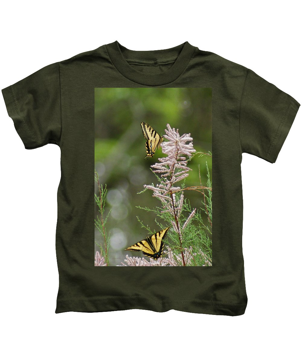 Bugs Kids T-Shirt featuring the digital art Tiger Swallowtails by Ernie Echols