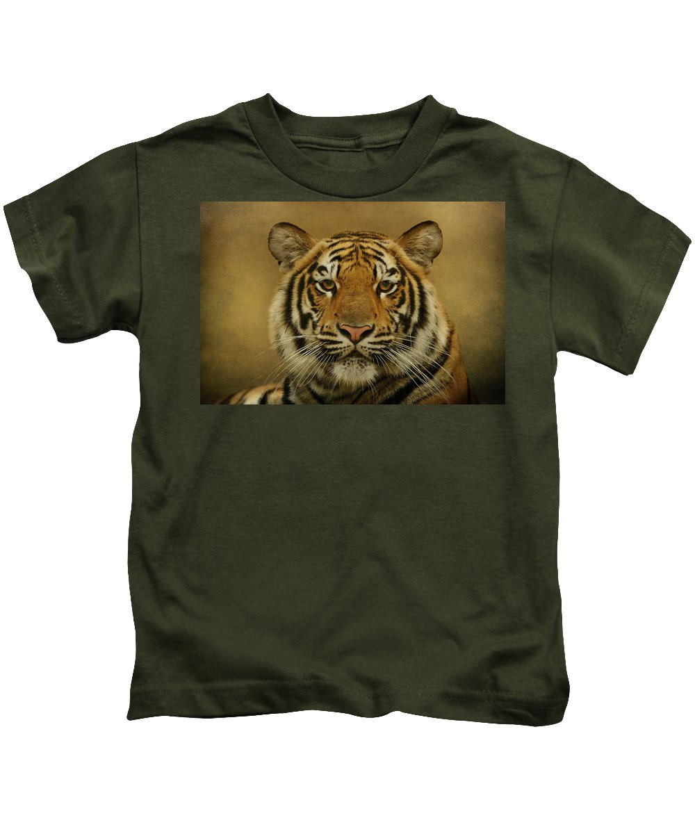 Animals Kids T-Shirt featuring the photograph Tiger Tiger by Sandy Keeton