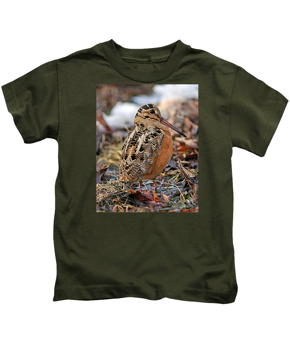 American Woodcock Kids T-Shirt featuring the photograph Timberdoodle The American Woodcock by Timothy Flanigan
