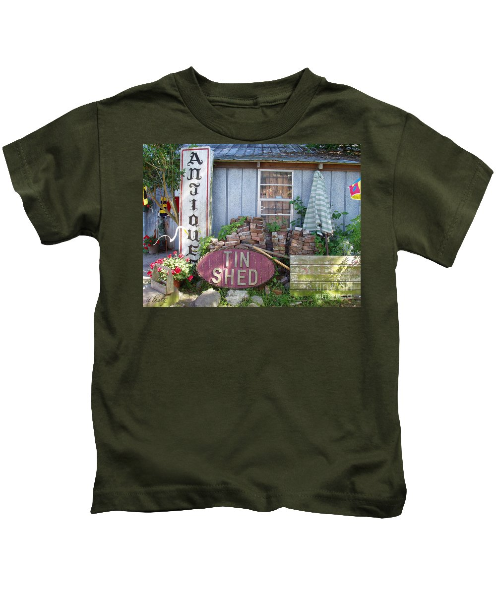 Antiques Kids T-Shirt featuring the photograph Tin Shed Apalachicola Florida by Audrey Peaty