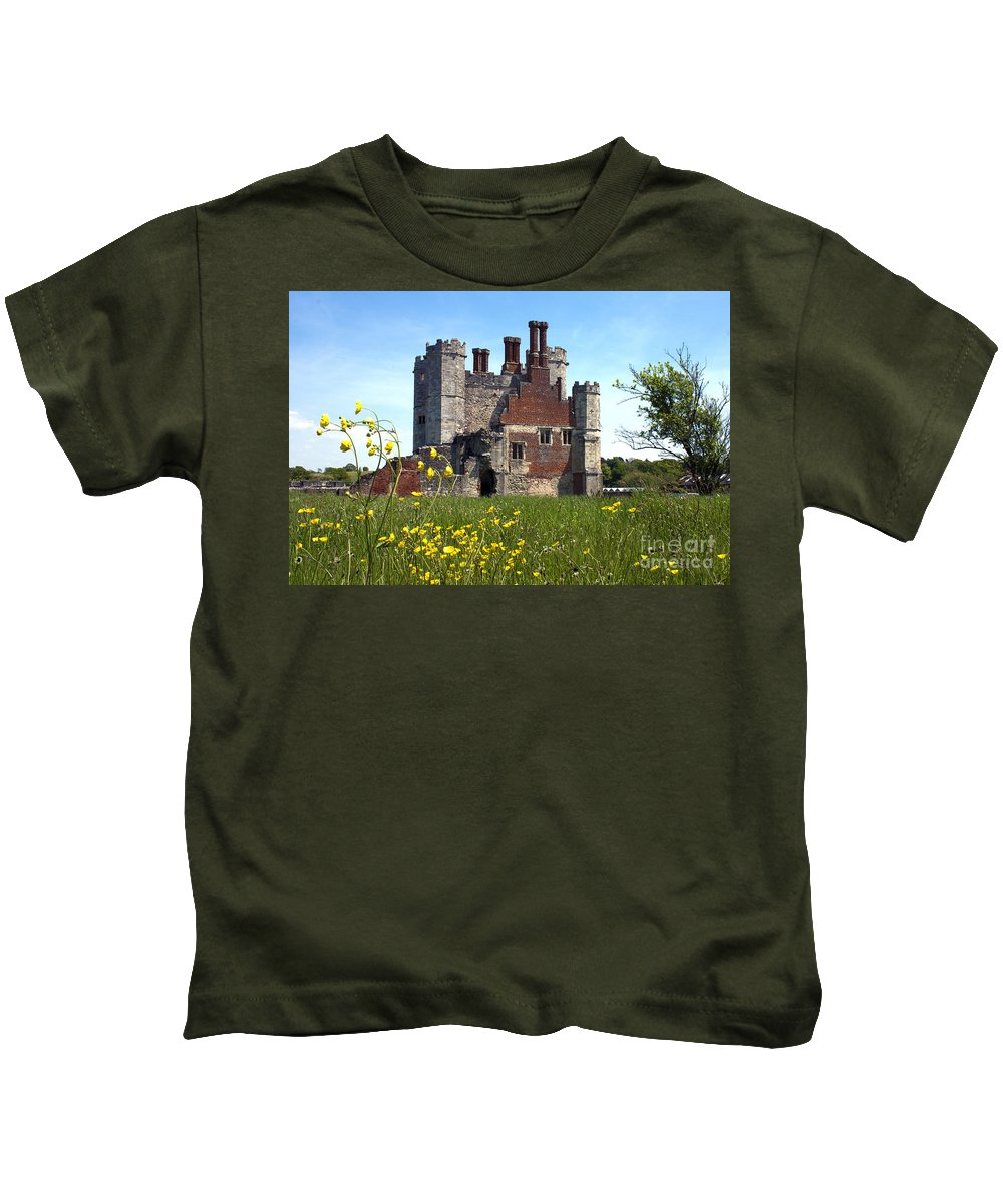 Titchfield Abbey Kids T-Shirt featuring the photograph Titchfield Abbey Buttercups by Terri Waters