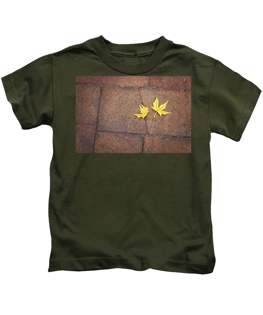 Together Yellow Maple Leaves Kids T-Shirt featuring the photograph Together Yellow Maple Leaves by Terry DeLuco