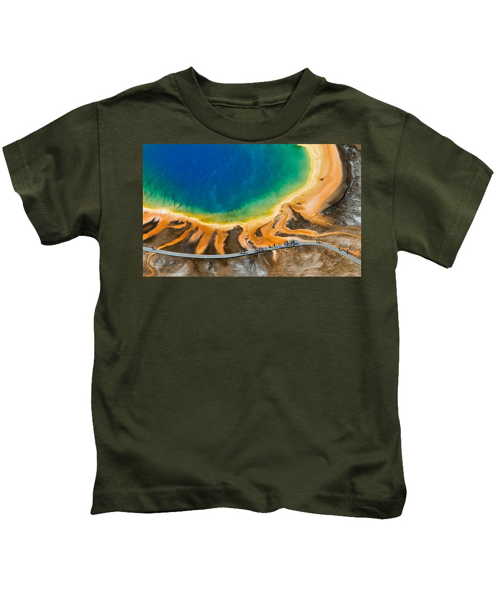 North America Kids T-Shirt featuring the photograph Tourists At Grand Prismatic by Max Waugh