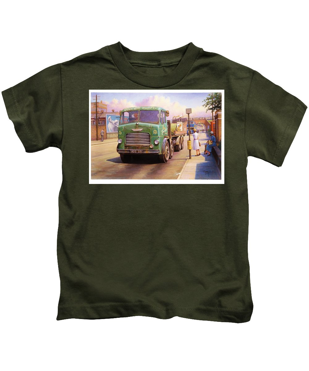 Painting For Sale Kids T-Shirt featuring the painting Tower Hill Transport. by Mike Jeffries