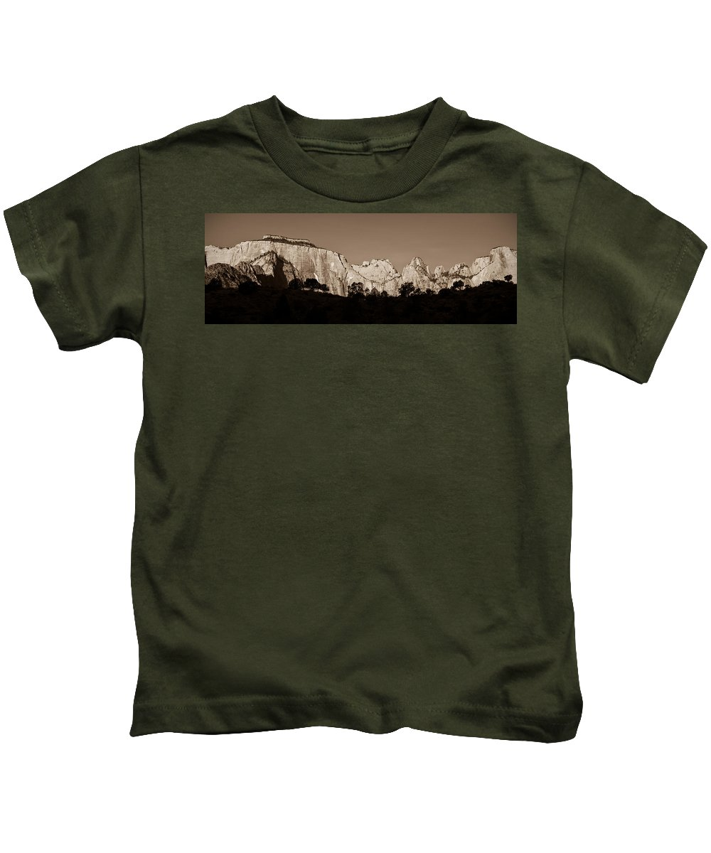 3scape Photos Kids T-Shirt featuring the photograph Towers Of The Virgin by Adam Romanowicz