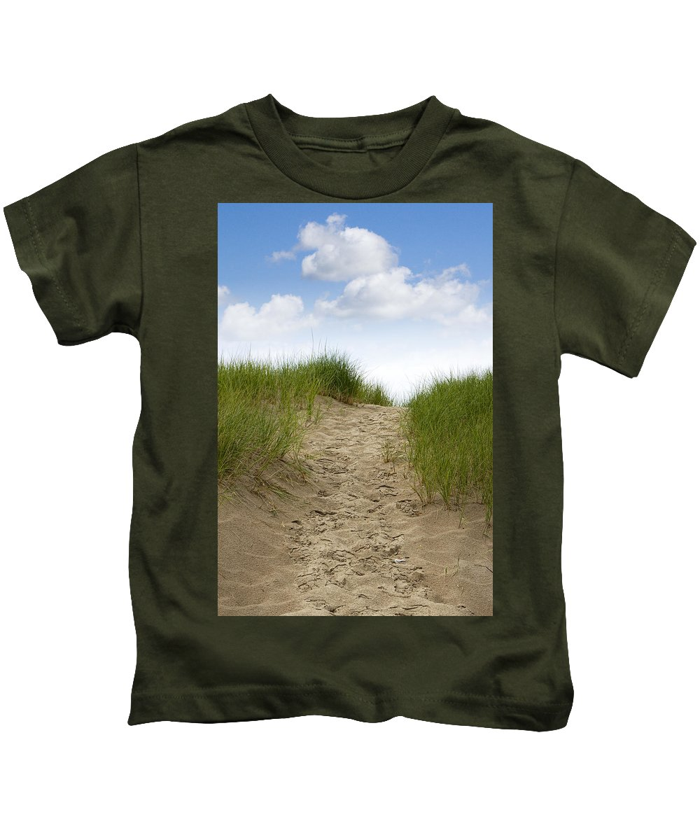Art Kids T-Shirt featuring the photograph Trail Over The Dune To The Summer Beach by Randall Nyhof