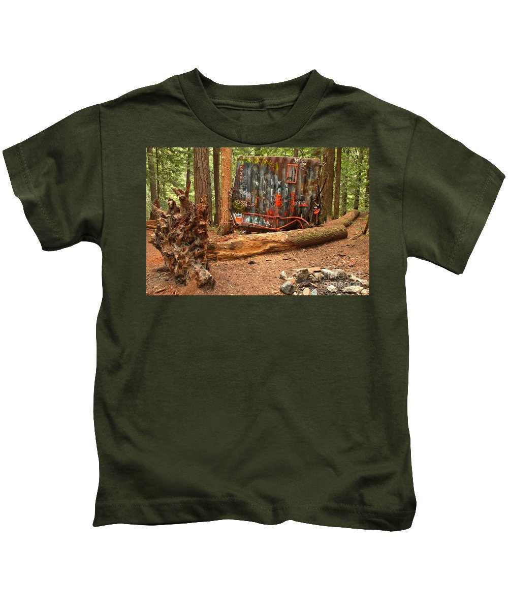 Canada Pacific Kids T-Shirt featuring the photograph Train Wreck Along The Cheakamus River by Adam Jewell
